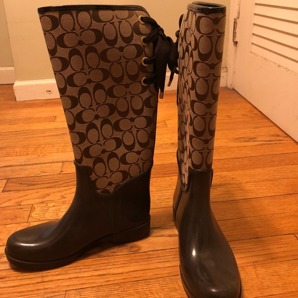 Brown And Beige Coach Rainboots Lace
